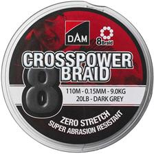 TRESSE DAM CROSSPOWER 8-BRAID GRIS - 110M