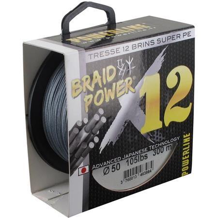 TRESSE POWERLINE BRAID POWER X12 GRIS
