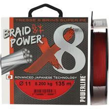 TRESSE POWERLINE BRAID POWER X8 ROUGE - 135M