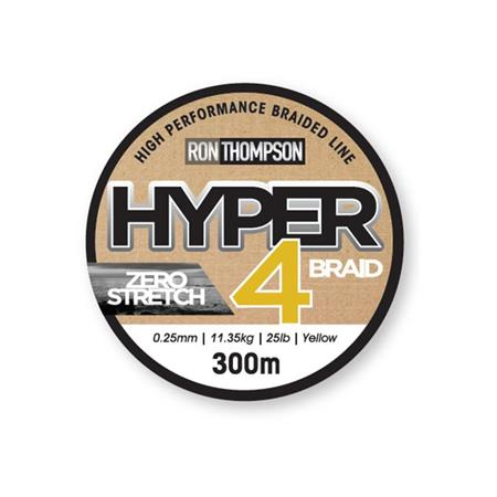 TRESSE RON THOMPSON HYPER 4-BRAID JAUNE - 300M