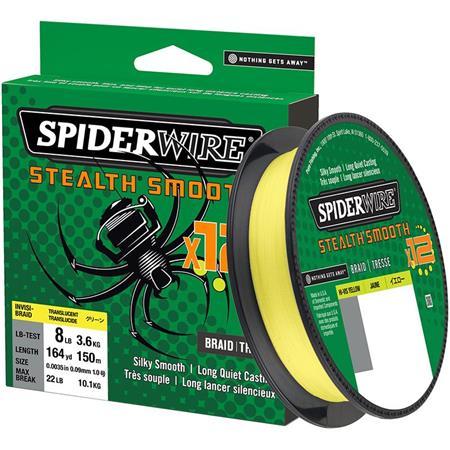 TRESSE SPIDERWIRE STEALTH SMOOTH 12 BRAID - 150M - JAUNE