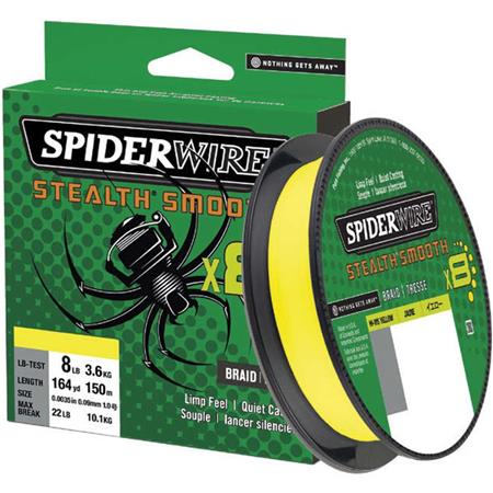 TRESSE SPIDERWIRE STEALTH SMOOTH 8 - JAUNE - 150M