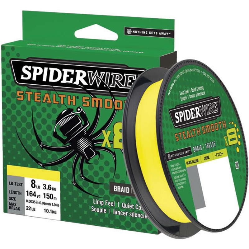 TRESSE SPIDERWIRE STEALTH SMOOTH 8 - JAUNE - 300M - 19/100