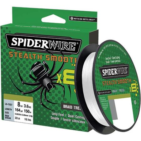 TRESSE SPIDERWIRE STEALTH SMOOTH 8 MOSS - TRANSLUCIDE - 300M