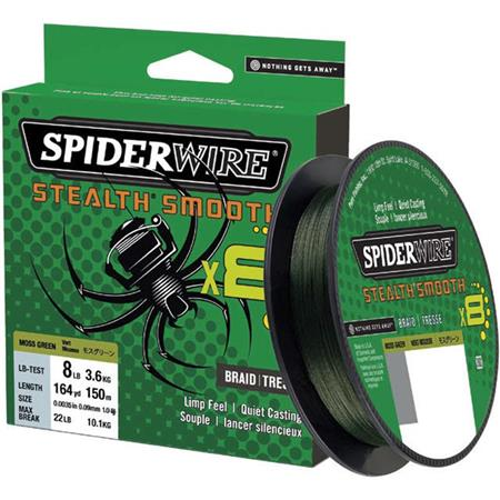 TRESSE SPIDERWIRE STEALTH SMOOTH 8 MOSS - VERT - 150M