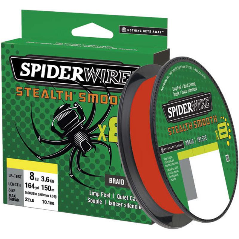 TRESSE SPIDERWIRE STEALTH SMOOTH 8 - ROUGE - 150M - 13/100