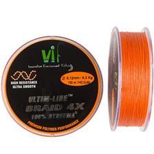 TRESSE VIF ULTIME LINE 4 BRINS - ORANGE - 130M - 14/100
